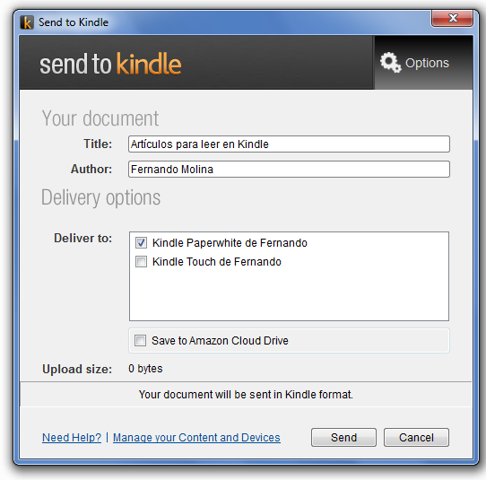 Send to Kindle - Desktop